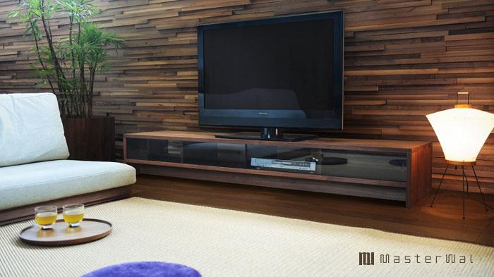 テレビボード ウォールナット 強化ガラス マスターウォール
